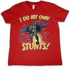 Batman T Shirt Dc Comics I Do My Own Stunts Logo Official Kids Red 3-12Yrs