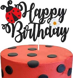 Glitter Ladybug Happy Birthday Cake Topper, Ladybug and Daisy Birthday Cake Decor, Ladybug Themed Birthday Party Supplies, Garden Bugs Party Centerpiece