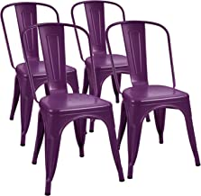 Furmax Metal Dining Chair Indoor-Outdoor Use Stackable Classic Trattoria Chair Chic Dining Bistro Cafe Side Metal Chairs Set of 4 (Purple)