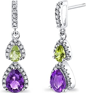 Peora Amethyst and Peridot Open Halo Dangle Earrings in Sterling Silver, Pear Shaped, 1.50 Carats Total, Friction Backs