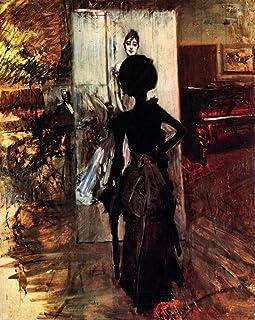 """The Museum Outlet–Femme en face de la peinture """"Blanc pastel Tableau 'par Giovanni Boldini–A3Poster"""