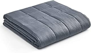 YnM Weighted Blanket � Heavy 100% Oeko-Tex Certified Cotton Material with Premium Glass Beads (Dark Grey, 48''x72'' 15lbs), Suit for One Person(~140lb) Use on Twin/Full Bed