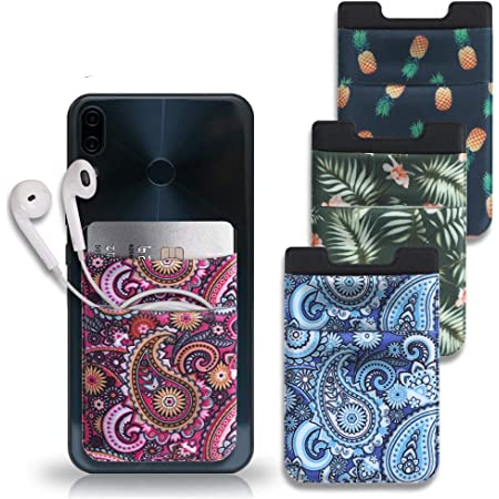 Cozihom Cellphone Card Holder, Stick On Card Wallet, Credit Cards/ID Card Holder, Lycra Pouch with 3M Sticker Compatible with All kinds of Cellphones, Red & Blue Paisley/Pineapple/Palm, 4 Pcs
