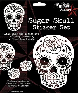 Sunny Buick - Rose Sugar Skull - Set of 5 White Stickers / Decals