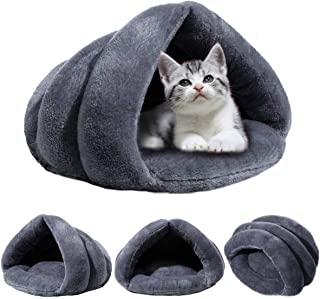 Aiung Pet Kennel Nest Plush Cave Cozy Grey House for Dog or Cat Sleeping