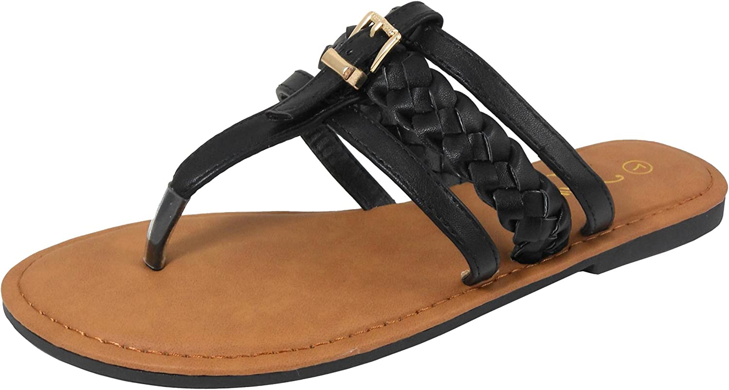 Jynx Women's Braided Buckle Thong Flat Sandal