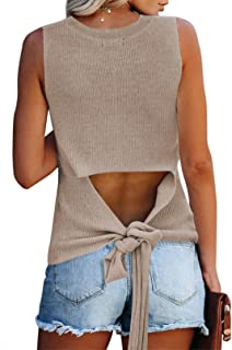 Cutiefox Women's Knit Tank Tops Sleeveless Summer Loose Tie Back Casual Vest Shirts Blouses