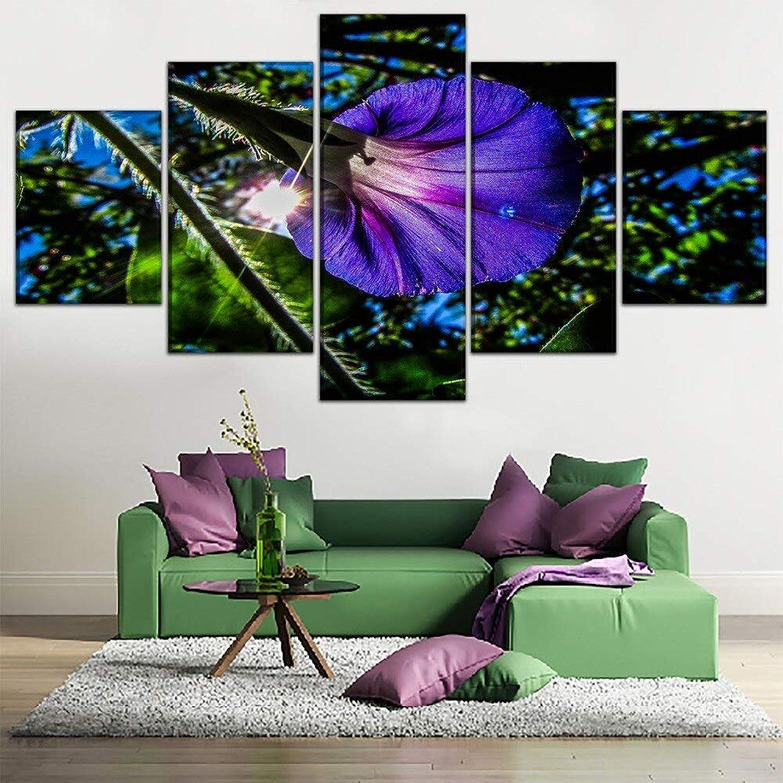 LONLLHB Painting Leinwandbilder Wohnkultur Wandkunst 5 Stücke Morning Glory blueemen Malerei Für Wohnzimmer Hd Drucke Poster Dekor Rahmen