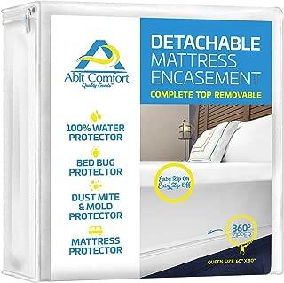Abit Comfort mattress cover, deep size mattress encasement detachable top, waterproof, bed bug protector, hypoallergenic, easy to install 360˚ zipper mattress protector, queen size 13