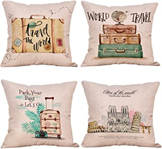 Easternproject 4 Pack Inspirational Quote Travel Theme Cotton Linen Throw Pillow Covers Home Decorative Cushion Case Square Pillowcase 18''x18'' with Summer Beach Happy Camper (4 Pack Travel Theme B)