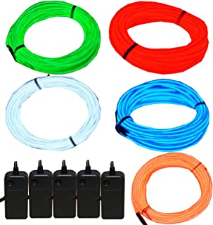 5 Pack - Jytrend 9ft Neon Light El Wire w/Battery Pack