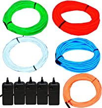 JYtrend 5 Pack 9ft Neon Light El Wire w/Battery Pack