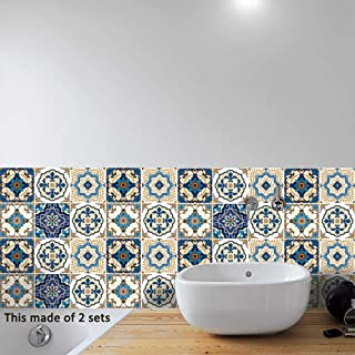 AILEGOU Waterproof Vinyl Wall Tiles Sticker for Home Decor, Self-Adhesive Peel and Stick Backsplash Tile Decals for Kitchen Bathroom Decor, 6x6inch 10 Pcs.(Mediterranean)