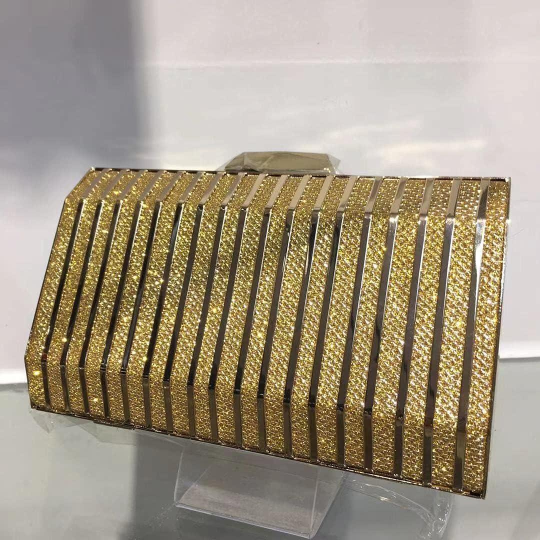 wbwlfjtlll Women Evening Bag 2021 Metal Texture Purses and Handbags Female Shoulder Bags Day Clutch Girl Wedding Party Banquet Bag (Color : A Golden)