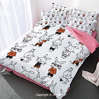 Funny Decor Duvet Cover Set Full Size,Cute Retro Bunny Rabbits with Costumes Jack Hare Funky Bunni,Decorative 3 Piece Bedding Set with 2 Pillow Shams Orange White