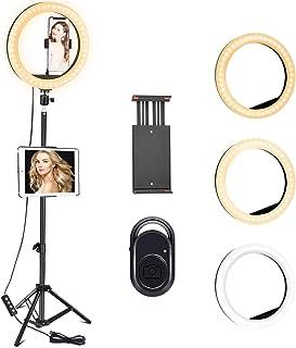 COVACURE Ringlicht Mit Stativ und Fernbedienung   26cm Ringleuchte mit 3 Farbe und 10 Helligkeitsstufen, bis zu 120cm für Selfie Make Up Live Streaming und Konferenzen