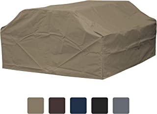 COVERS & ALL Picnic Table Cover 12 Oz Waterproof - 100% UV & Weather Resistant 1000 D PVC Coated Patio Furniture Cover with Air Pockets and Drawstring for Snug fit (72, Beige)