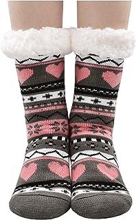Women Winter Slipper Socks Cute Animal Cozy Warm Fuzzy House Socks with Gripper