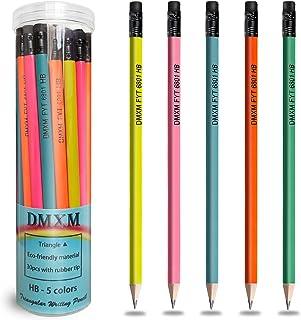 مداد چوبی پایه ، HB که با پاک کن تراش داده شده است ، مداد چوبی غیر سمی مثلث مثلث برای کودکان و بزرگسالان ، سیاهههای مربوط ، مواد مصنوعی ، مناسب برای کودکان ، نقاشی ، طراحی ، طراحی ، طراحی