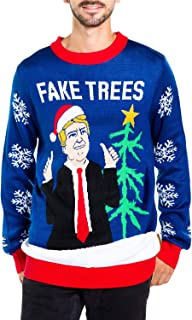 Men's Fake News President Christmas Sweater - Blue Donald Trump Fake Trees Ugly Christmas Sweater
