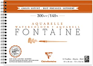 Bloco Papel para Aquarela Clairefontaine Fontaine Satiné 300g/m² 19X26cm