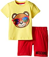 Moschino Kids - Short Sleeve Logo Teddy Bear T-Shirt & Shorts Set (Infant/Toddler)