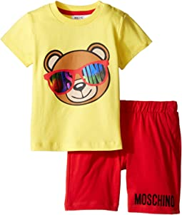 Moschino Kids - Short Sleeve Logo Teddy Bear T-Shirt & Shorts Set (Infant/Toddler)