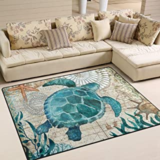 Blue Sea Turtle Nautical Map Area Rug 7' x 5' Door Mats Indoor Polyester Non Slip Multi Rectangle Carpet Kitchen Floor Runner Decoration for Home Bedroom Living Dining Room