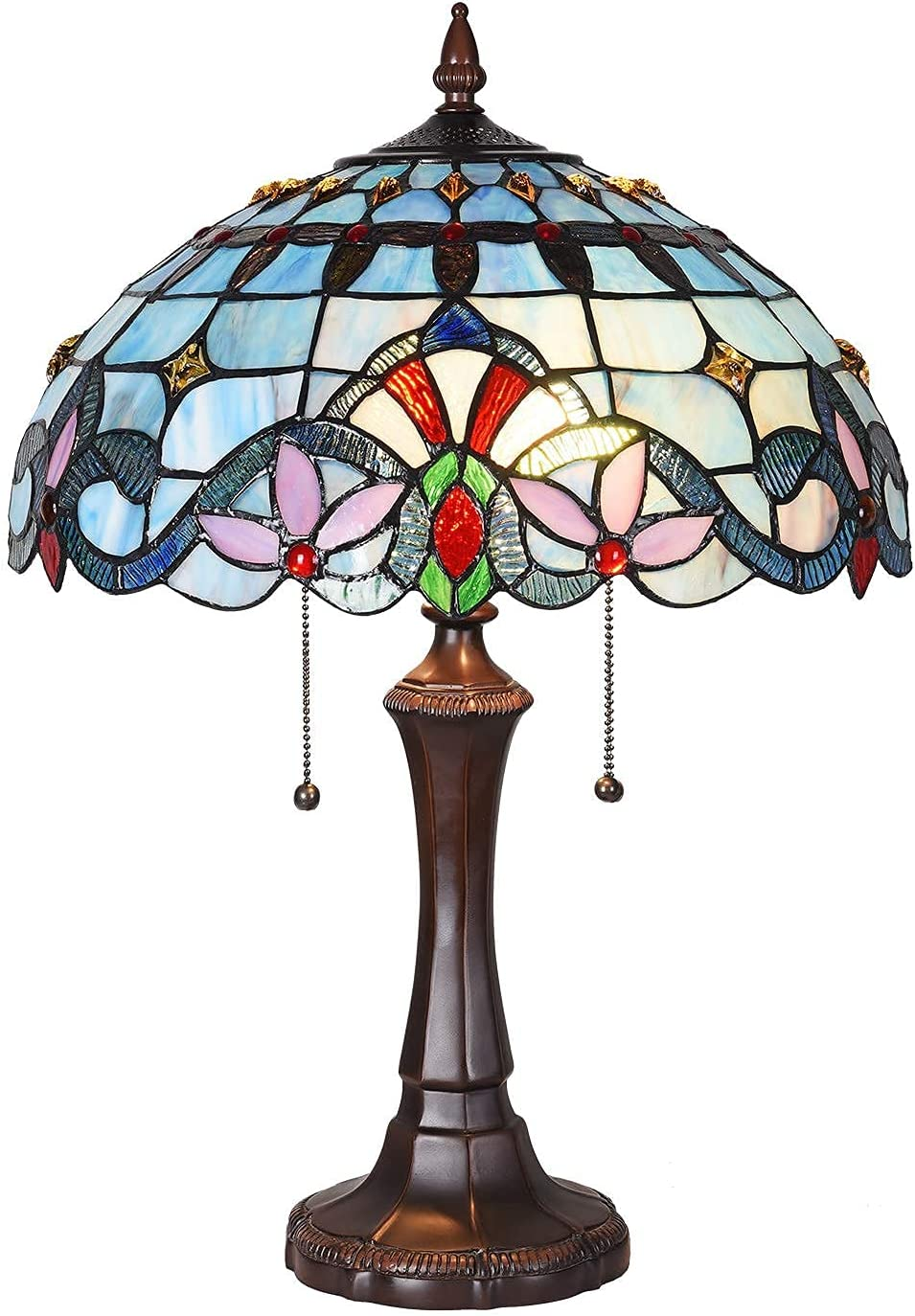 Maxxmore Tiffany Table Lamp 2-Light Desk Glass Stained Reading discount Selling rankings