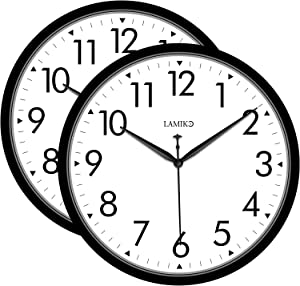 LAMIKO 2Packs Non-Ticking Wall Clocks 10 Inch Silent Battery Operated Classic Quartz Decro Clock Easy to Read for Room/Home/Kitchen/Bedroom/Office/School, Black