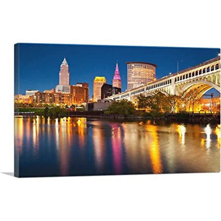 Cleveland Ohio Cleveland Skyline At Night With Terminal Tower Photography A 92984 9x12 Art Print Wall Decor Travel Poster Wall Art