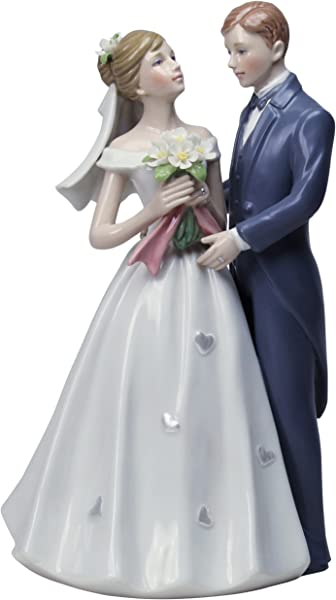 StealStreet SS CG 30717 8 Inch Porcelain Painted Classic Bride And Groom Statue Cake Topper