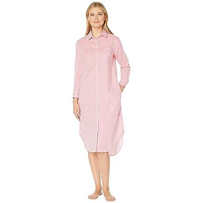 LAUREN Ralph Lauren Long Sleeve Ballet Sleepshirt (Coral Stripe) Women