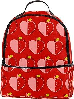 Yitian Yitian PU Leder Rucksack Schule Uni Büchertasche Rote Äpfel