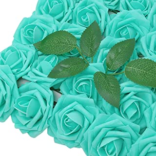 Wrapables Rose, Real Touch DIY Wedding Bouquets and Centerpieces, Aquamarine Artificial Flowers