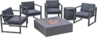 Great Deal Furniture WOS Outdoor 4-Seater Aluminum Chat Set with Fire Pit, Black and Dark Gray