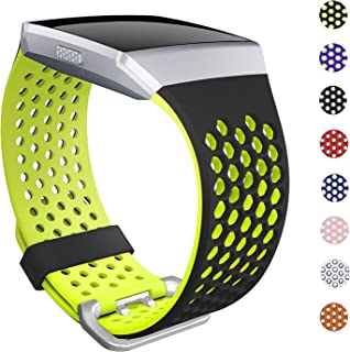 SKYLET Bands Compatible with Fitbit Ionic, Soft Silicone Breathable Replacement Wristband Compatible with Fitbit Ionic Smart Watch with Buckle [Black-Yellow, Large]