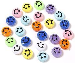 LQXZJ-DIY-handwerk, 200 PCS Acryl Kleurrijke Smiley Face Kralen, Ronde Happy Face Losse Spacer Beads Spacer Beads, DIY Sie...