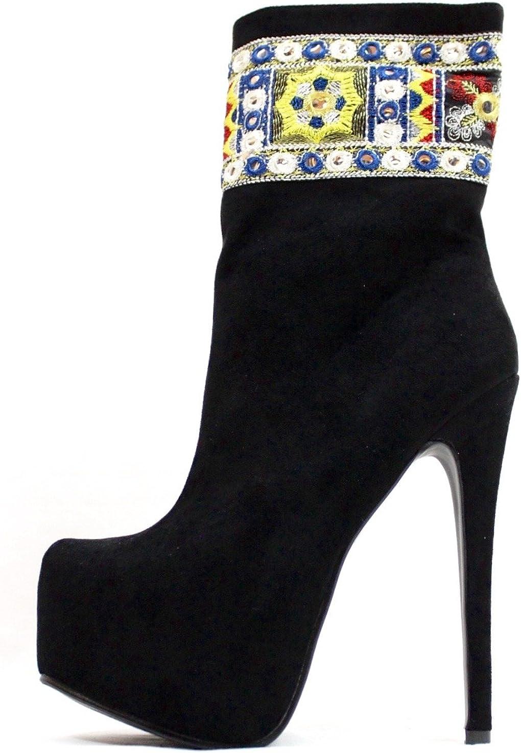 Athena Embellished Pointy Toe Platform High Heel Stiletto Mid Calf Dress Boots Bootie