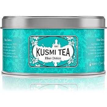 Kusmi Tea - Blue Detox - mélange de thé vert, maté et plantes aromatisé ananas - à servir chaud ou glacé - Boite 125gr
