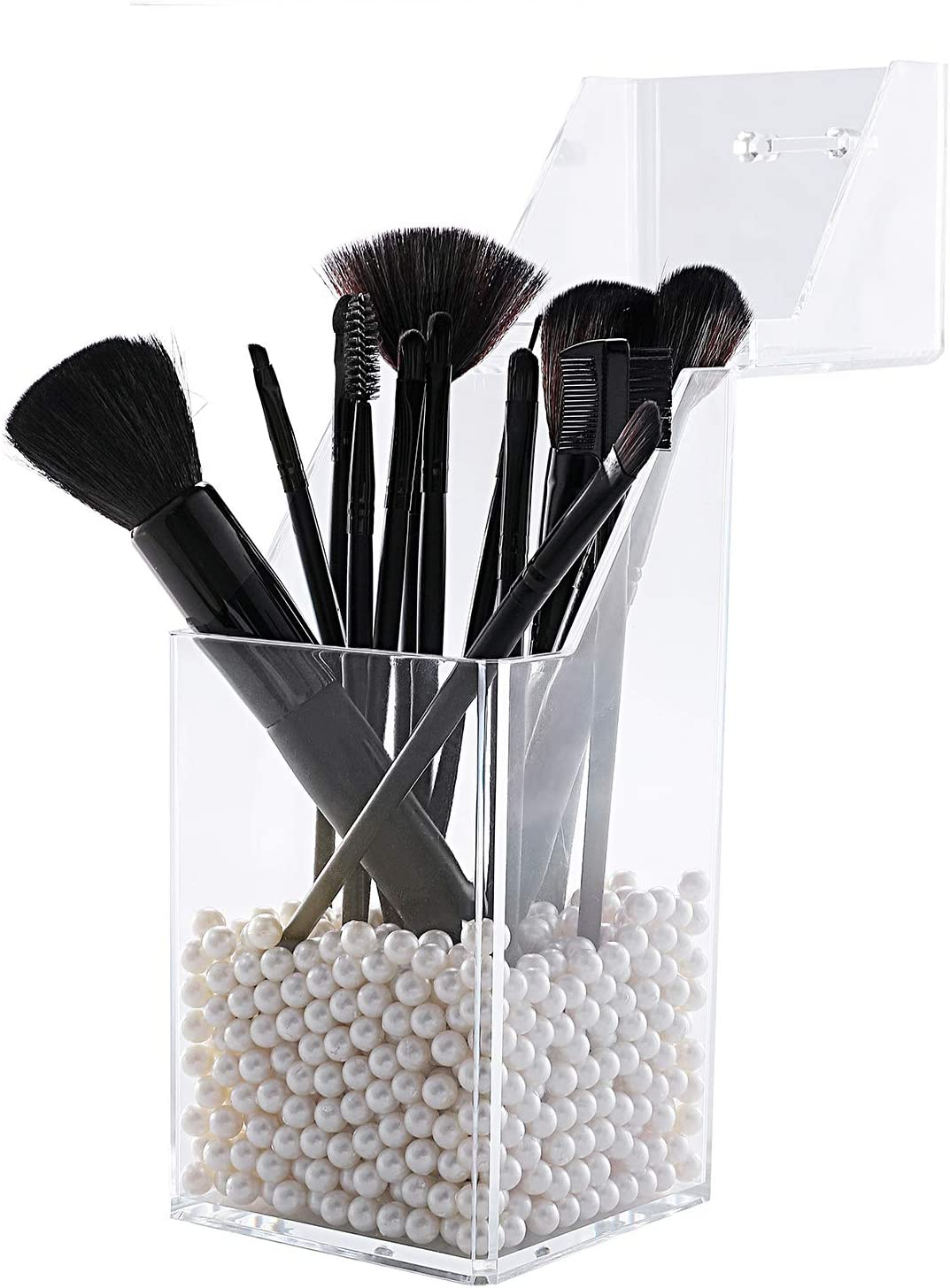 lureme Makeup Brush 70% OFF Outlet Holder with Clear Max 82% OFF Lid Dustproof Orga