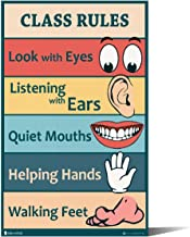 Classroom Rules sign chart LAMINATED EXTRA LARGE by Teachers for young students learning in kindergarten nursery pre school Young N Refined(18x30)