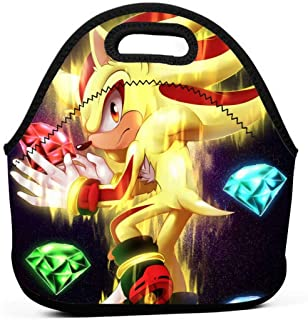 Neoprene Lunch Bags Food Container Tote for Women Men, Portable Insulated Picnic Bento Handbags for Work Outdoor Travel, Shadow And The Blue Emerald Super Sonic Chaos Heroes