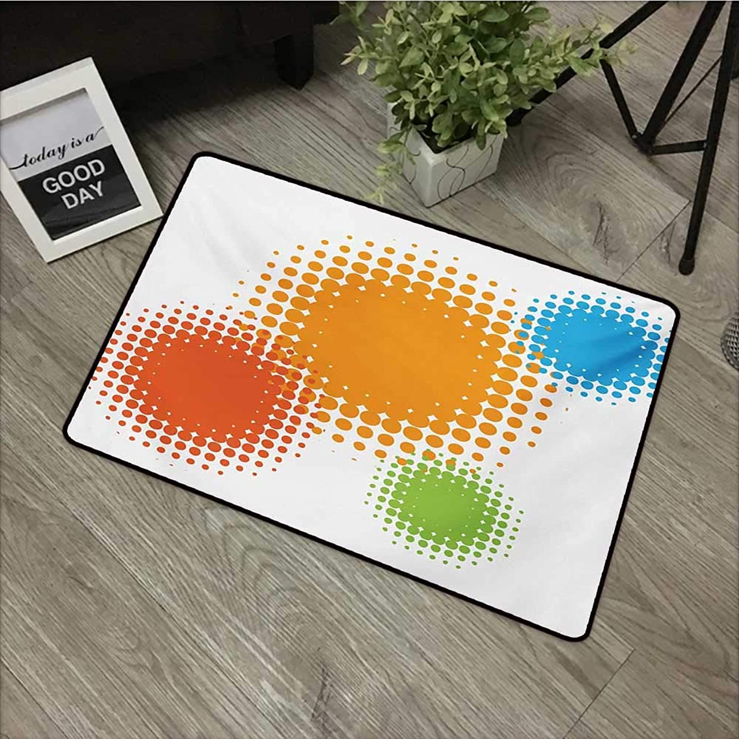 Bathroom Door mat W35 x L47 INCH orange,colorful Half Tone Circles with Spots on White Background Retro Design,Red orange and bluee Easy to Clean, no Deformation, no Fading Non-Slip Door Mat Carpet