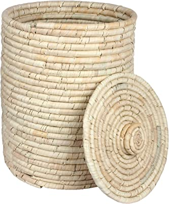 Laundry Basket for Baby Clothes Storage/Clothes Basket/Palm Leaves Laundry Clothes Basket is The Best Alternative to Cheap Wicker Laundry Basket (Round)