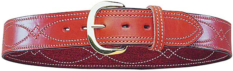 Bianchi B9 Fancy Stitched Belt Tan Brass Buckle