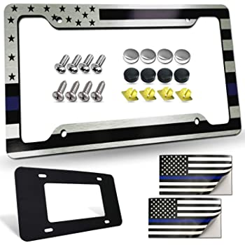 BBTO 2 Pack Gray Lives Matter USA Flag License Plate Cover with 8 Pieces American Flag Tire Valve Stem Caps Aluminum Tie Logo Flag Themed License Plate Holder Novelty Patriotic Auto Car Tag