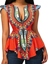 Elogoog Womens Summer Blouse Ethnic Tribal African Printed Sleeveless Zipper Front Tunic T-Shirt Tops