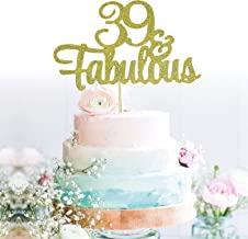 GrantParty Glitter Gold 39&Fabulous Anniversary Cake Topper We Still Do 39th Vow Renewal Wedding Anniversary Cake Topper(39 Gold)