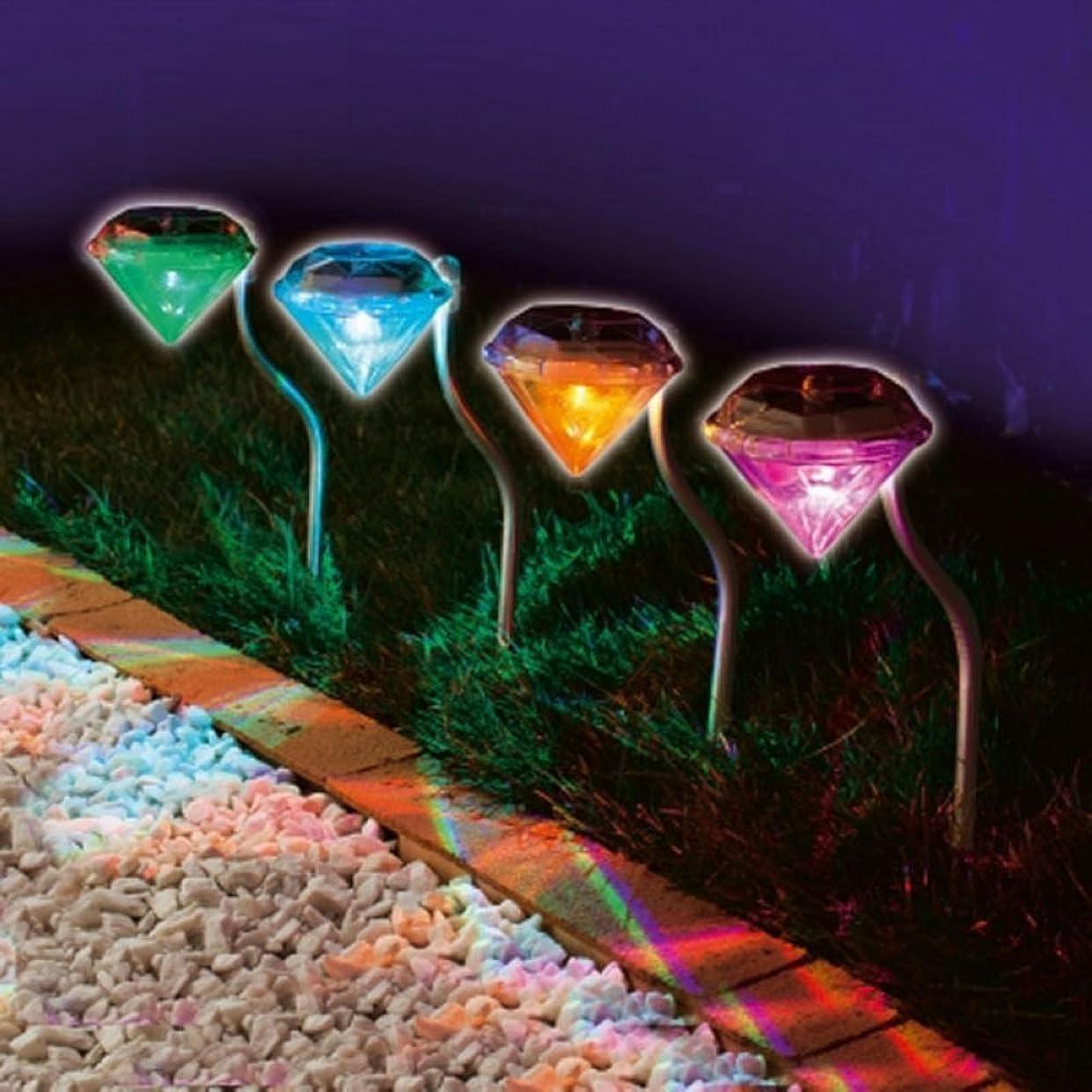 これら同じ小康ソーラーガーデンライト屋外 - ダイヤモンドソーラーパワーライト、ガーデンヤード通路のためにステークで変わる色、配線なし、変色,4個 セット